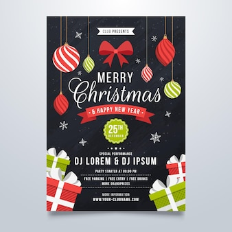 Christmas party poster template with drawn elements