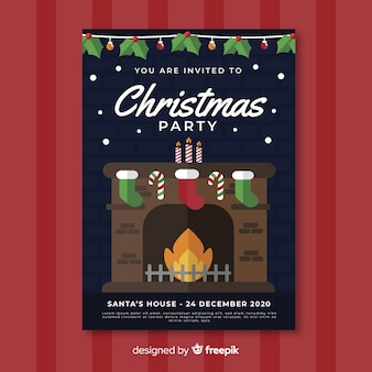 Christmas party poster template with fireplace in flat design