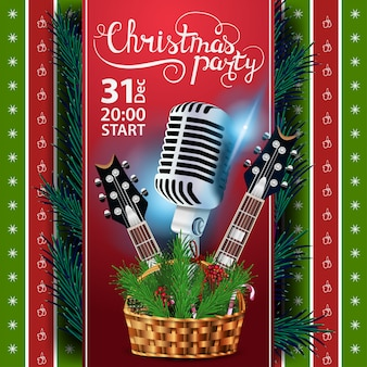 Christmas party, poster template with guitars and basket with christmas branches