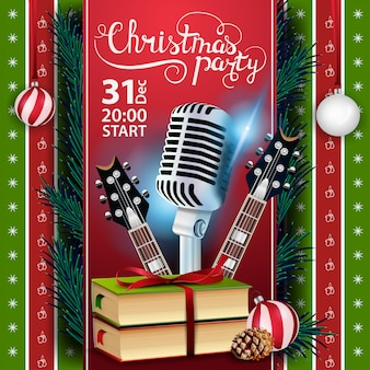 Christmas party, poster template with guitars and christmas books