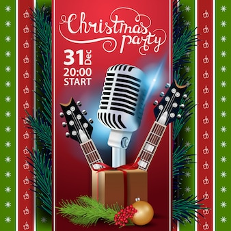 Christmas party, poster template with guitars and gifts