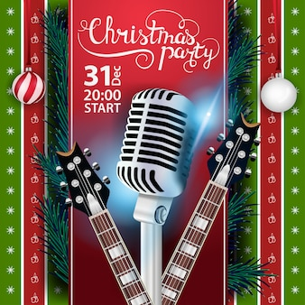Christmas party, poster template with guitars and microphone