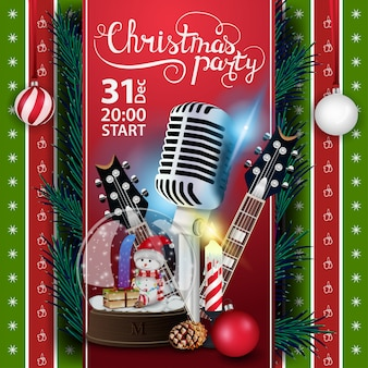 Christmas party, poster template with guitars and snow globe