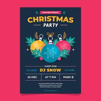 Шаблон плаката рождественской вечеринки с иллюстрированными элементами