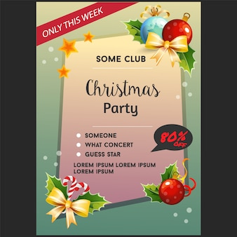 Christmas party poster template with light decorations