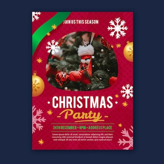 Christmas party poster template with photo