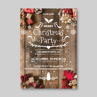 Christmas party poster template with picture