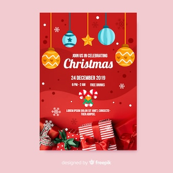 Christmas party poster template