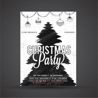 Рождественская вечеринка постер с абстрактным дерево и гирляндой