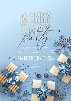 Christmas party poster with blue and golden decoration