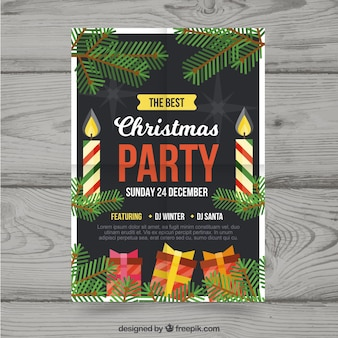Christmas party poster with candles and presents