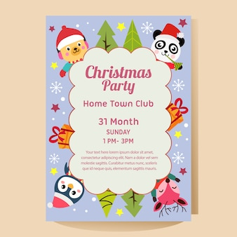 Christmas party poster with christmas panda penguin deer dog