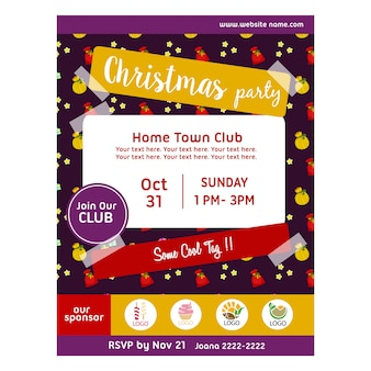 Christmas party poster with gift sacks pattern