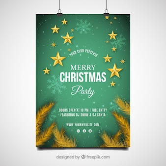 Christmas party poster with golden stars
