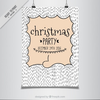 Christmas party poster with hand-drawn lines