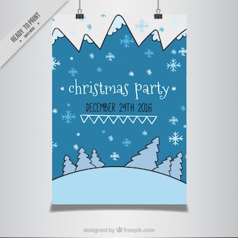 Christmas party poster with hand drawn snowy landscape