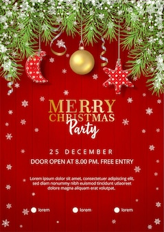 Christmas party poster with handmade toys on wooden red background