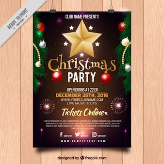 Christmas party poster with ornaments