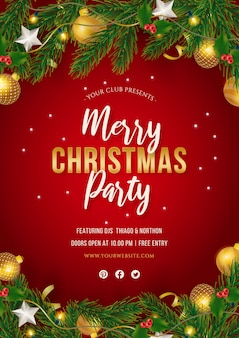 Christmas party poster with realistic decoration