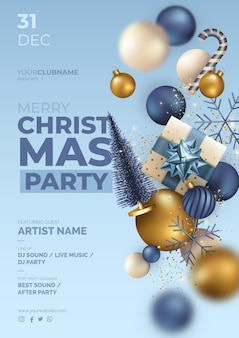 Christmas party poster with realistic flying ornaments