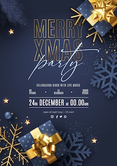 Christmas party poster with realistic ornaments and presents
