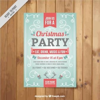 빨간 세부 사항 가진 크리스마스 파티 포스터