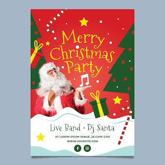 Christmas party poster with santa claus