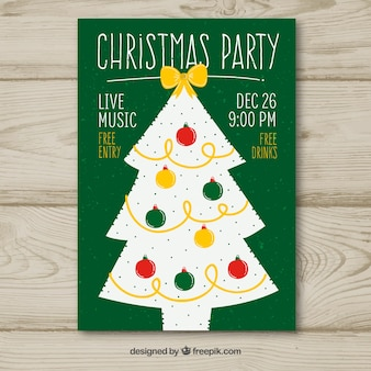 Christmas party poster with tree
