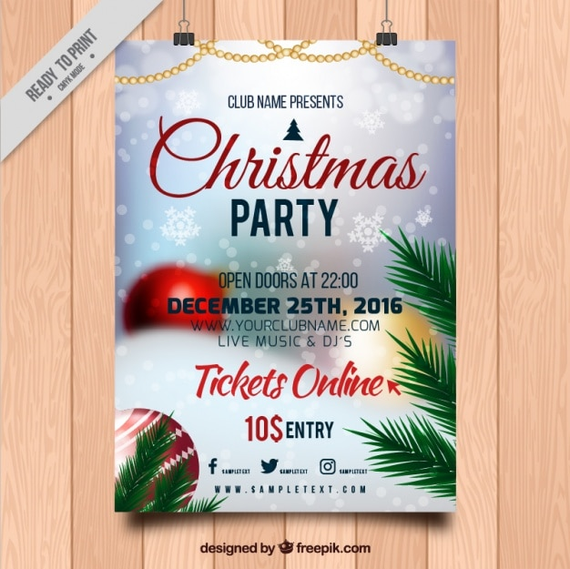 Christmas party poster with unfocused image