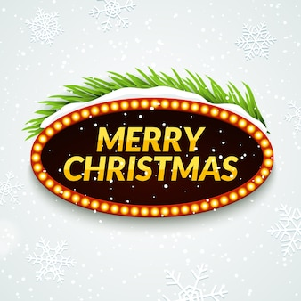 Christmas party retro sign poster template with snow and tree branch. xmas frame greeting decoration.