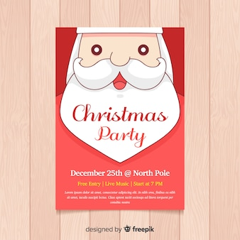 Christmas party santa claus face poster  template