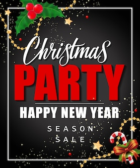 Christmas party and season sale lettering
