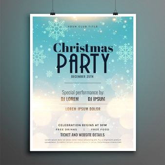Christmas party snowflakes flyer poster template