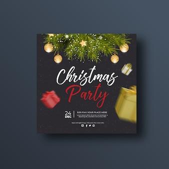 Рождественская вечеринка баннер в социальных сетях или квадратный флаер