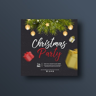 Christmas party social media banner or square flyer