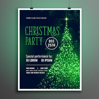 Christmas party sparkle tree green flyer template design