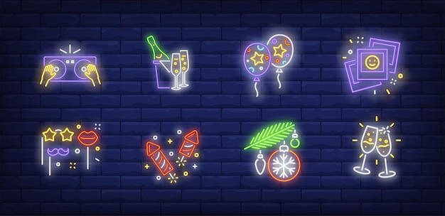 Christmas party symbols set in neon style