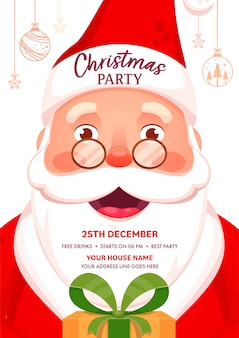 Christmas party template or flyer  with cheerful santa claus character and event details.