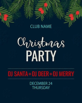 Christmas party template vector illustration with pine branch and yew berry