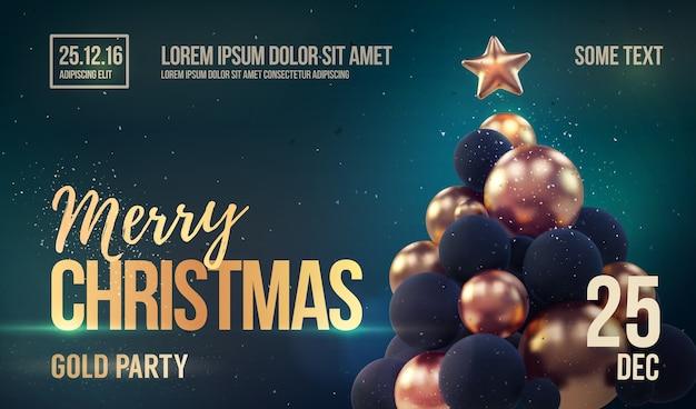 黄金のクリスマスツリーとクリスマスパーティーテンプレート。