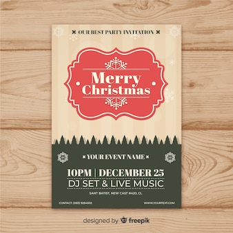 Christmas party vintage frame flyer template