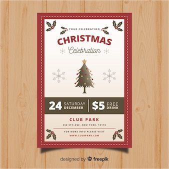Christmas party vintage tree flyer template