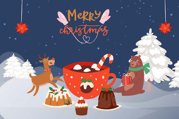 Christmas party in the winter forest with cartoon reindeer, bear in scarf and christmas cakes, sweets and mug of hot chocolate.