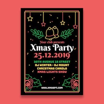 アウトラインスタイルのジングルベルとクリスマスパーティー