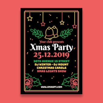 Christmas party with jingle bells in outline style