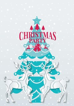Christmas party with reindeer in papercut style vector illustration