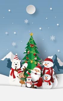 눈 산에서 산타 클로스와 크리스마스 파티