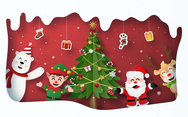 Christmas party with santa claus and christmas tree and character