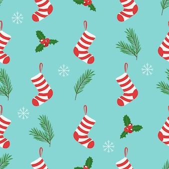 クリスマスのパターン、ヒイラギ、サトウキビ、ブーツ。シームレスパターン