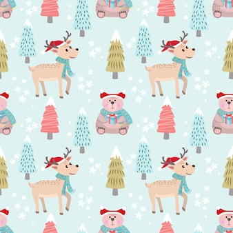 Christmas pattern background with bear and deer.